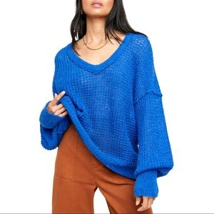 Free People Lulu Blue Parrot V-neck Sweater NWT XS